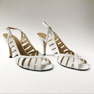 Vintage White Heel Sandals in Size 6.5 (U.S.)